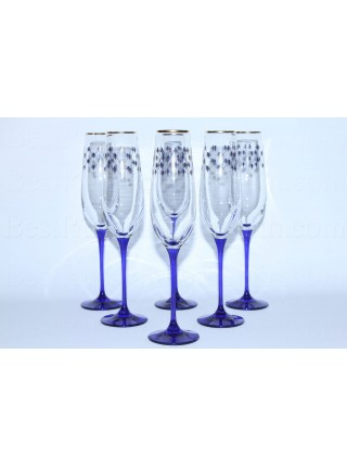 Set 6 Glasses for Champagne pic. Cobalt Net