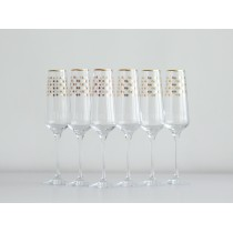 Set 6 Glasses for Champagne pic. Golden Net