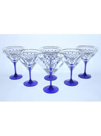 Set 6 Glasses for martini pic. Cobalt Net