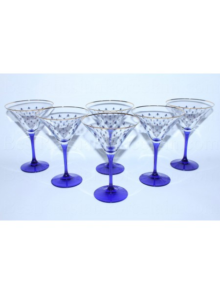 Set 6 Glasses for martini pic. Cobalt Net