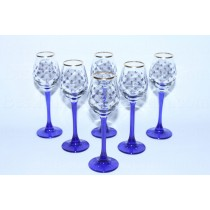 Set High 6 Glasses / Shot for Vodka pic. Cobalt Net