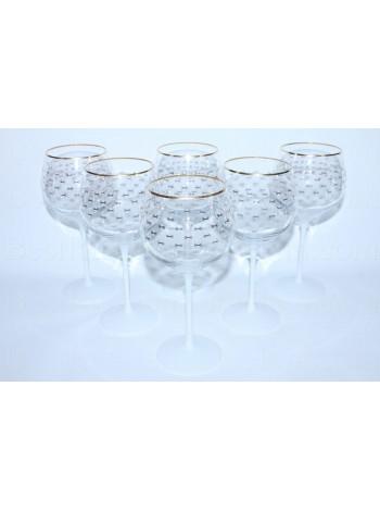 Set 6 Glasses for water pic. Cobalt Net (White)