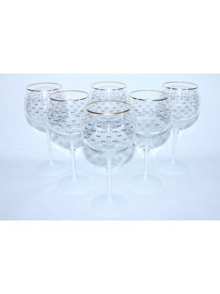 Set 6 Glasses for water pic. Cobalt Net (White)