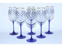 Set 6 Glasses for Wine pic. Cobalt Net