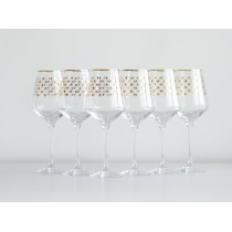 Set 6 Glasses for Wine pic. Golden Net