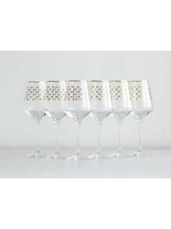 Set 6 Glasses for Wine pic. Golden Net