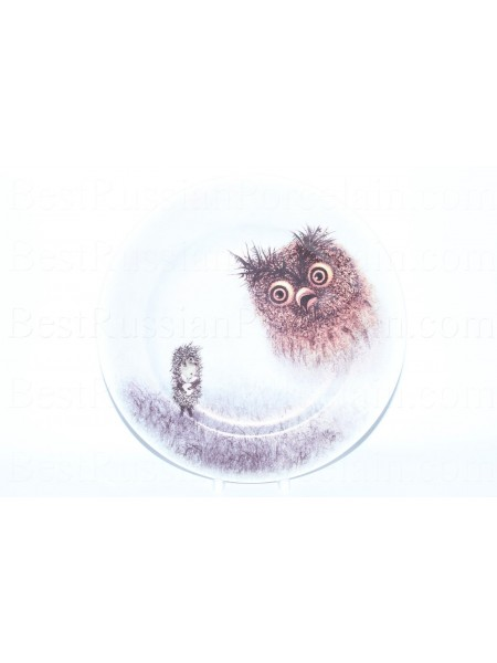 Decorative Plate pic. Hedgehog and Owl, Form European