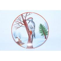 Decorative Plate pic. Motley Woodpecker, Form Ellipse
