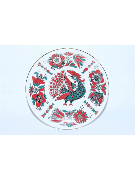 Decorative Plate pic. Red Bird (Rooster), Form Ellipse