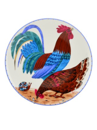 Decorative Plate pic. Rooster and Hen, Form Ellipse