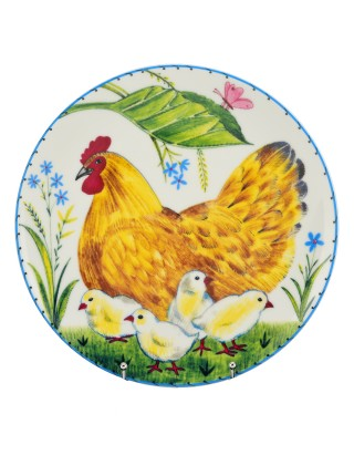 Decorative Plate pic. Hen and chickens, Form Ellipse