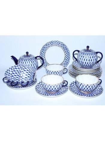 Tea Set pic. Cobalt Net 6/20 Form Tulip
