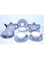 Tea Set pic. Cobalt Net 6/14 Form Tulip