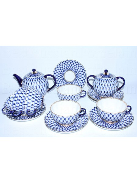 Tea Set pic. Cobalt Net 6/14 Form Tulip