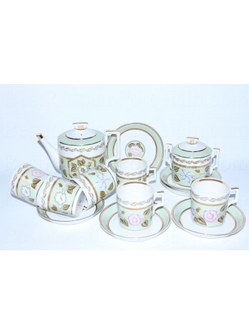 Tea Set pic. Nephrite Background 6/14, Form Heraldic