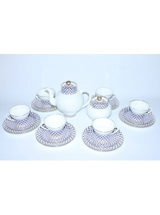 Tea Set pic. Cobalt Net 6/20 Form Wave