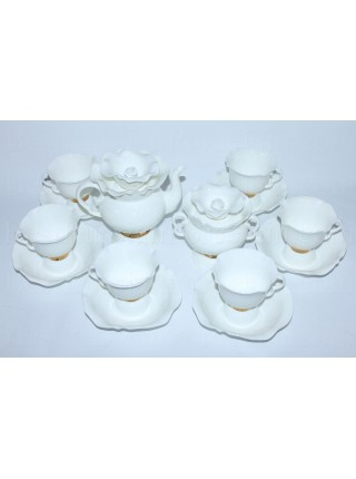 Tea set pic. Golden ribbon 6/14, Form White flower