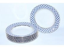 Set of 6 Deep Plates pic. Cobalt Net, Form Deep