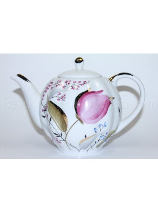Teapot pic. Pink Tulips, Form Tulip