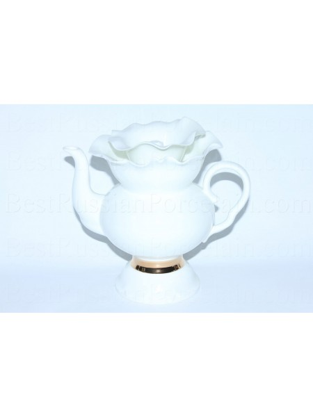Teapot pic. Golden ribbon, Form White flower