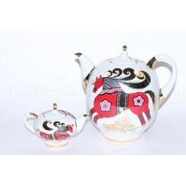 Set of Teapots big and small pic. Red Horse Form Novgorod, BIG 2.5L