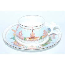 Cup and saucer pic. Pavilions ENEA(VDNH) in Moscow, Form Bilibin