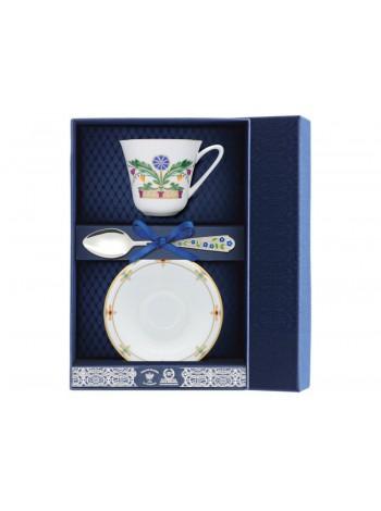Set: cup, saucer, silver spoon pic. Zamoskvorechye, Form Garden