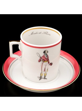 Cup and saucer pic. Modes de Paris 1838, Form Heraldic