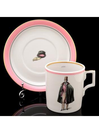 Cup and saucer pic. Modes de Paris 1840, Form Heraldic
