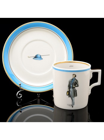 Cup and saucer pic. Modes de Paris 1844, Form Heraldic