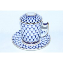 Mug with lid and saucer pic. Cobalt Net, Form Snow morning