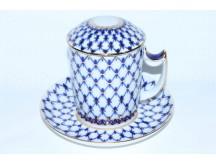 Mug with lid and saucer pic. Cobalt Net, Form Snow morning