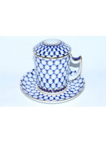 Mug with lid pic. Cobalt Net, Form Snow morning