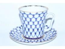 Mug and Saucer pic. Cobalt Net, Form Leningrad