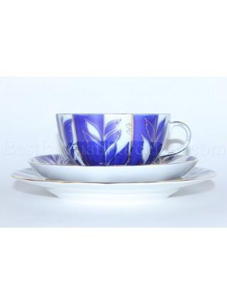 Trio set: tea cup, saucer and dessert plate pic. Winter Evening, Form Tulip