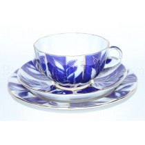 Trio set: tea cup, saucer and dessert plate pic. Winter Evening, Form Tulip