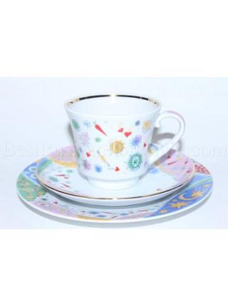 Trio set: tea cup, saucer and dessert plate pic. Confetti, Form Banquet