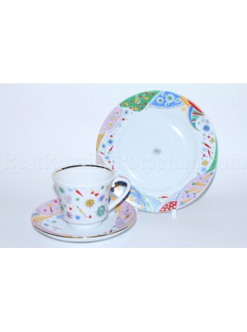 Trio set: tea cup, saucer and dessert plate pic. Confetti, Form Banquet