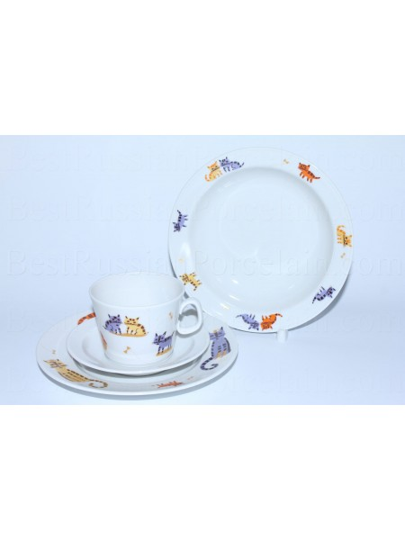Set: tea cup, saucer and two plates pic. Cats, Form Youth