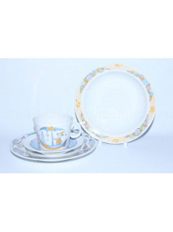 Set: tea cup, saucer and two plates pic. Sea Travel, Form Youth