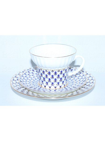 Trio set: cup, saucer and dessert plate pic. Cobalt Net Form Wave