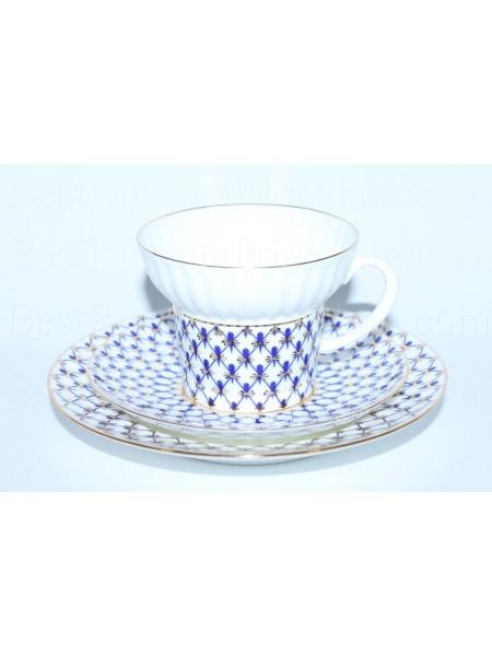 Trio set: cup, saucer and dessert plate pic. Cobalt Net Form Wave
