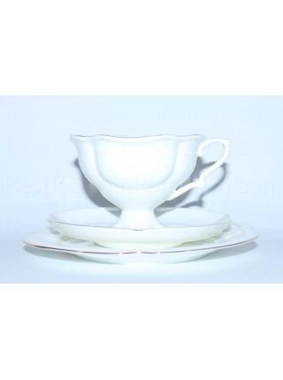 Trio set pic. Golden ribbon: cup, saucer and dessert plate, Form Natasha