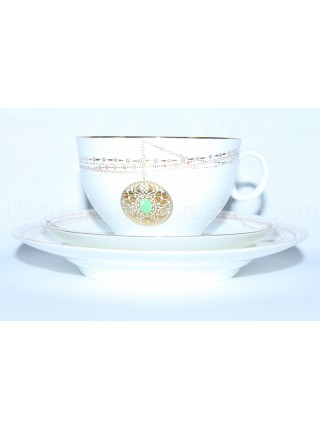 Trio set pic. Golden Medallion: cup, saucer and dessert plate, Form Apple