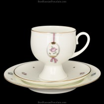 Trio set: tea cup, saucer and dessert plate pic. Easter (Pink Flower), Form Classical-2