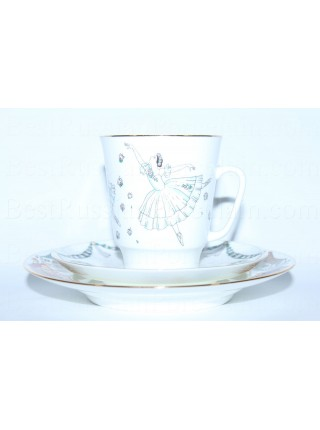 Trio set: cup, saucer and dessert plate pic. Ballet Giselle, Form May
