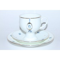 Trio set: tea cup, saucer and dessert plate pic. Easter (Blue Flower), Form Classical-2