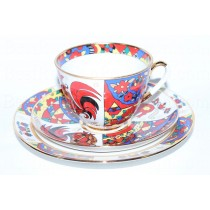 Trio set: cup, saucer and dessert plate pic. National Patterns, Form Spring