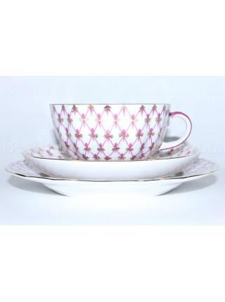 Trio set: tea cup, saucer and dessert plate pic. Net Blues, Form Tulip