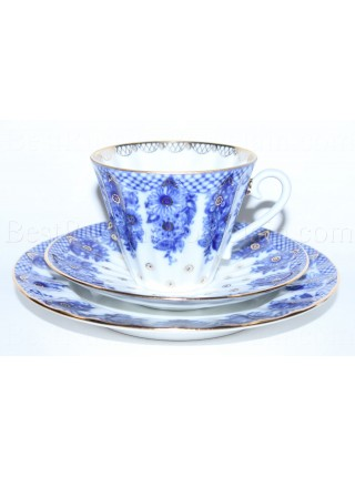 Trio set: tea cup, saucer and dessert plate pic. Little Basket, Form Radiant